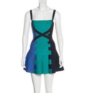 Herve Leger Colorblock Bandage Dress Size XS